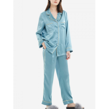 Women's Silk Pajama Set Button Down Sleepwear XS-3XL
