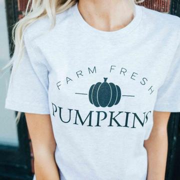 Farm Fresh Pumpkin Graphic Tees Women Halloween Funny Grunge T-shirt Streetwear Hipster Tshirt Festival Cotton Shirts Drop Ship