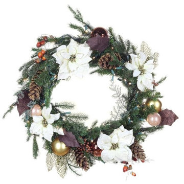 PVC Battery Operated Christmas Wreath With Lights