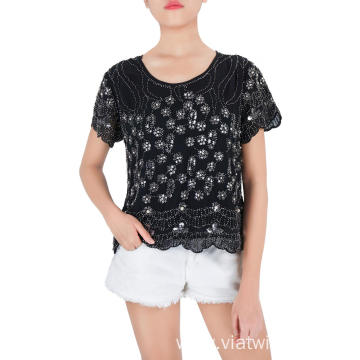 Embroidered Sequin and Beads Short Sleeve Blouses