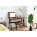 Madilim na Brown Solid Rubber Wood Dresser na may Mirror
