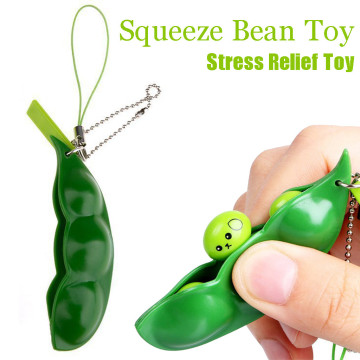 Funny Beans Squishy Squeeze Peas Edc Fidget Toys Pendants Keychain Anti Stress Relief Ball Gadgets Kid Children Novelty Toy
