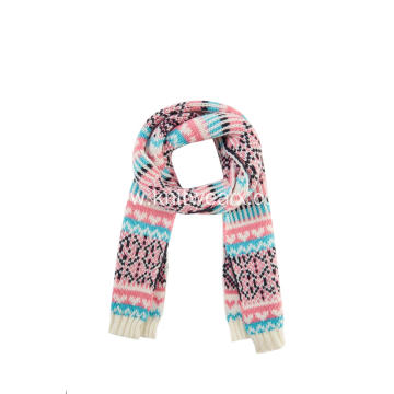 Girl's Knitted Jacquard Snow Pattern Christmas Scarf