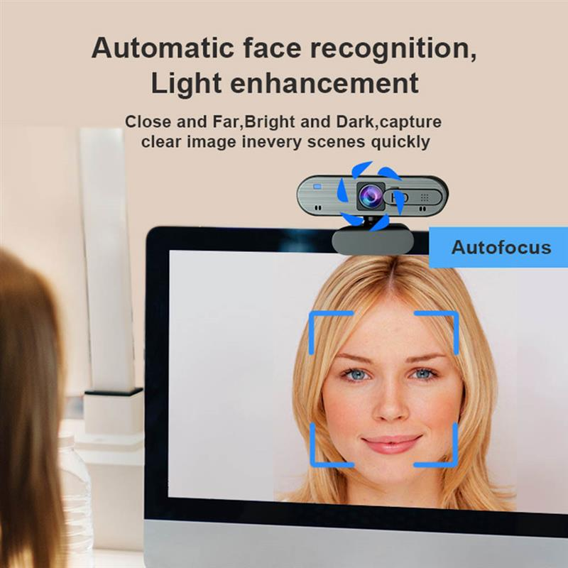 H703 Full HD USB Webcam Auto-focus Privacy Cover 1080P Web Camera with Dual Mic for Laptops Desktop Webcam Online Education