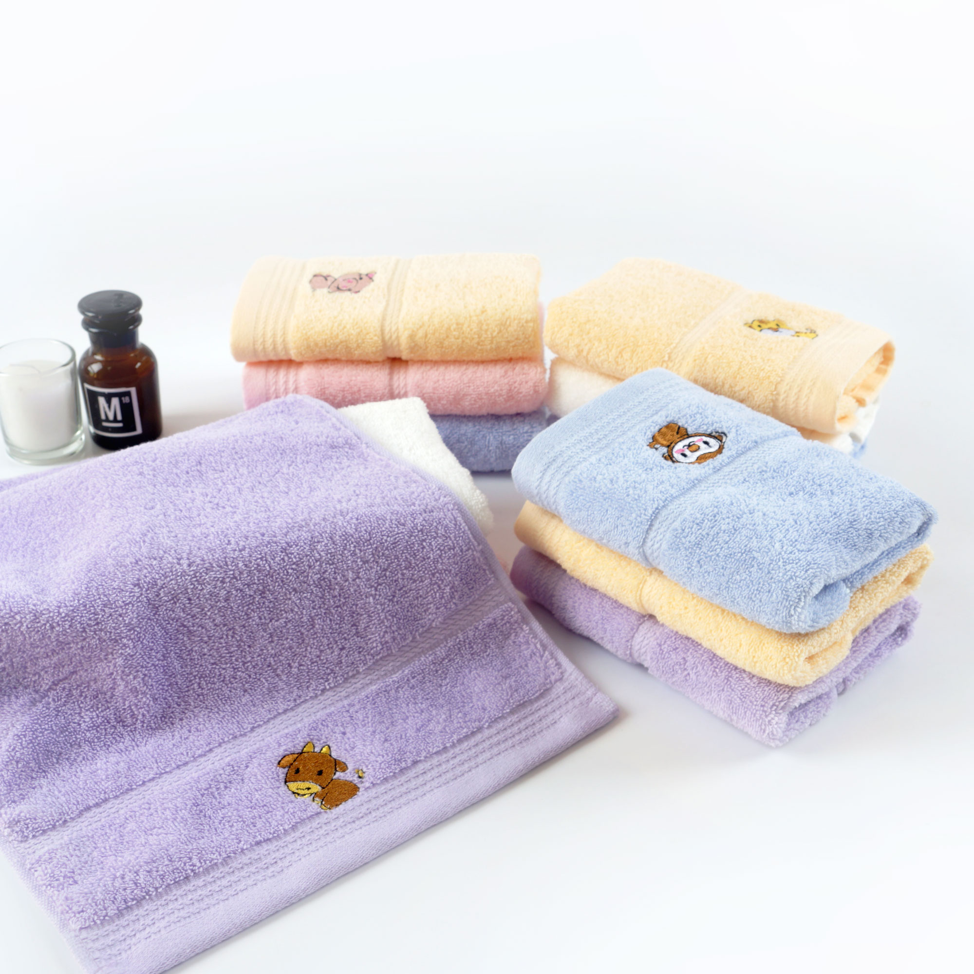 animals embroidery towel