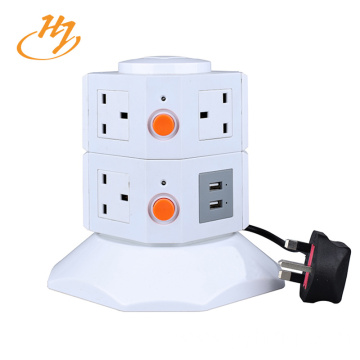 UK Type White 2-USB 2-Layers Tower Socket