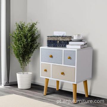 Nightstand with 4 Fabric Drawers, Unique Modern Design Bedroom Side Table Bedside End Table