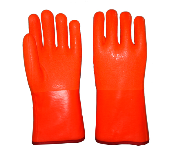 Fluorecent Anti-cold PVC coated gloves sandy finish 12""