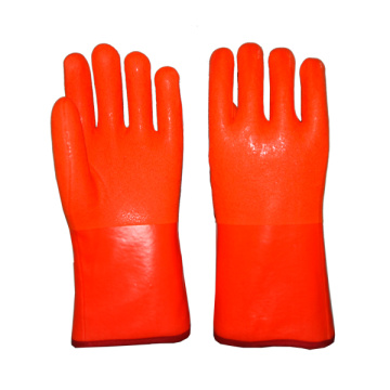Hi-Vis Orange PVC Glove Sandy Finish 12""