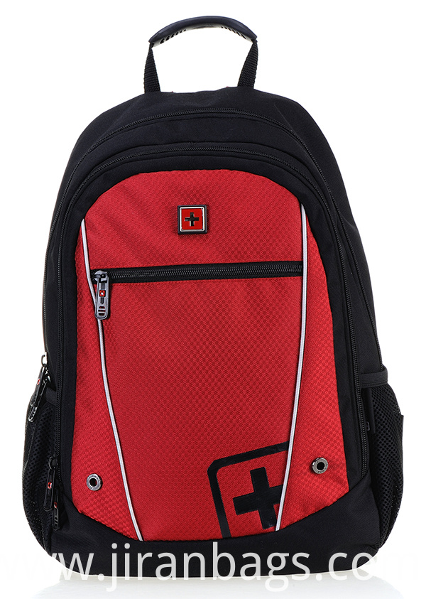 Red and black school backpack