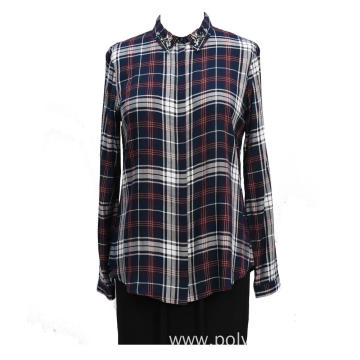Ladies Long Sleeves Handworking Beads Casual Shirt