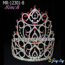 Red Crystal Silver Plated Big Crows For Pageant