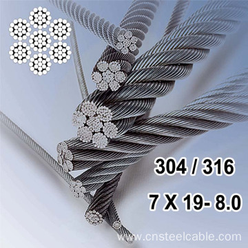 7X19 Dia.8.0mm Stainless steel wire rope