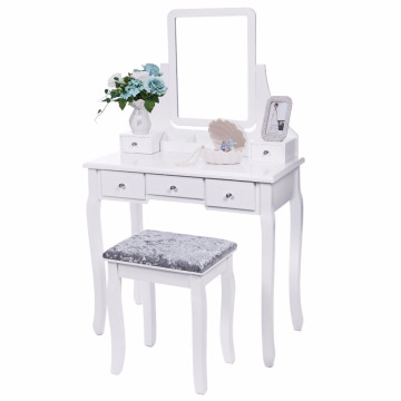 Vanity Set with Mirror Cushioned Stool Dressing Table Vanity Makeup Table 5 Drawers 2 Dividers Movable Organizers White