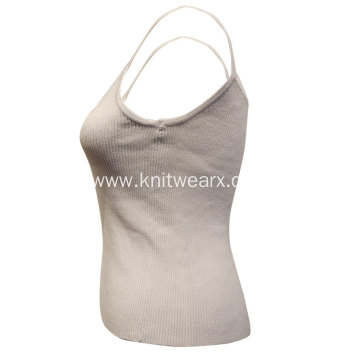 Lady's Knitted V Neck Strap Ribbed Vest