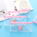 Creative Fresh Peach Pencil Case Transparent Pencil Case Large Capacity Simple Girls Stationery Bag