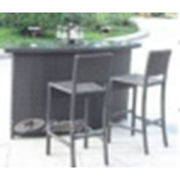 Wicker Dining bar table and chair set