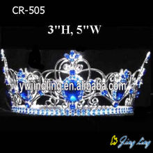 Sapphire Rhinestone Beauty Queen Crowns Full Round