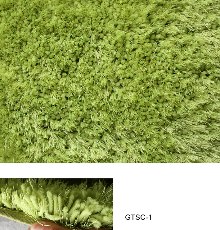 Thick Elastic & Silk Mix Shaggy in Green Color Rug