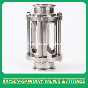 Sanitary sight glass clamped straight stainless steel