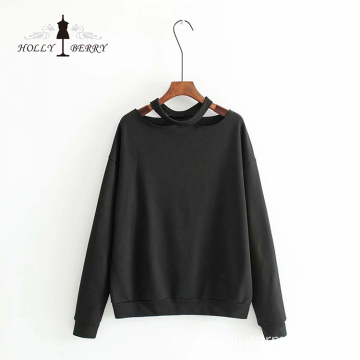 Modern Style Irregularity Neck Long Sleeve Women Sweatshirt