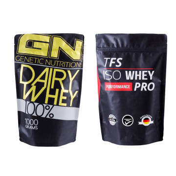 Black Protein Powder Stand Up Pouch | Doypack