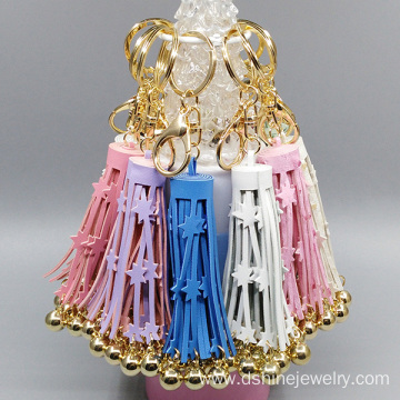 PU Leather Tassel Cute Key Chains Star Fringe With Balls