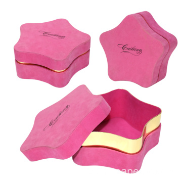 Pink Velvet Two Pieces Christmas Five-star Gift Box