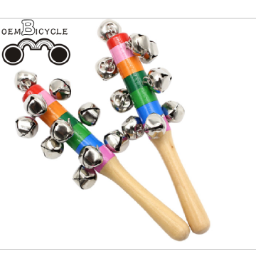 Rainbow color baby wooden rattle