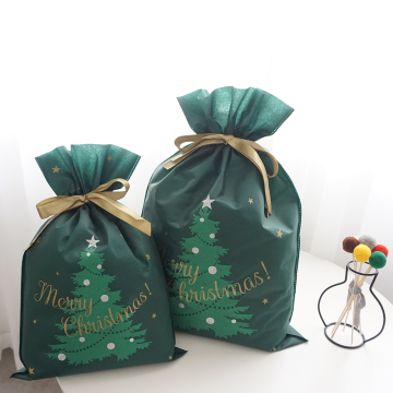 Large Christmas Green Tree Pattern Drawstring Gift Pouch