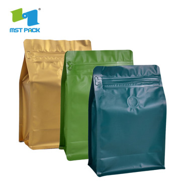Custom Printing coffee with Zipper flat bottom Bag
