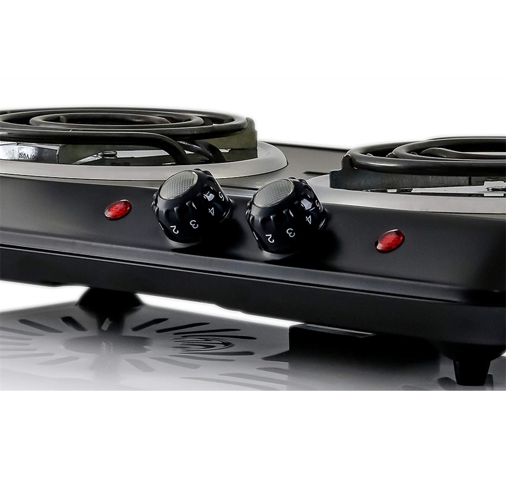 Countertop Electric Double Burner with Temperature Control