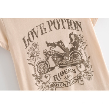 Women's New Motorcycle Beauty Printed T-shirt