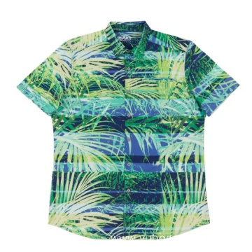 Custom Men's woven poly spandex shirt
