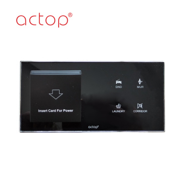 Black Tempered Glass Hotel Key Card Switch for Power