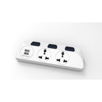Universal socket in 3 outlet with 2 USB
