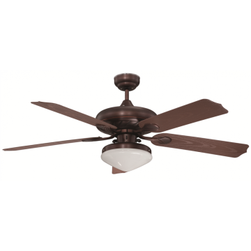Brush nickel ceiling fan with light