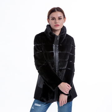 New model black cashmere fur coat