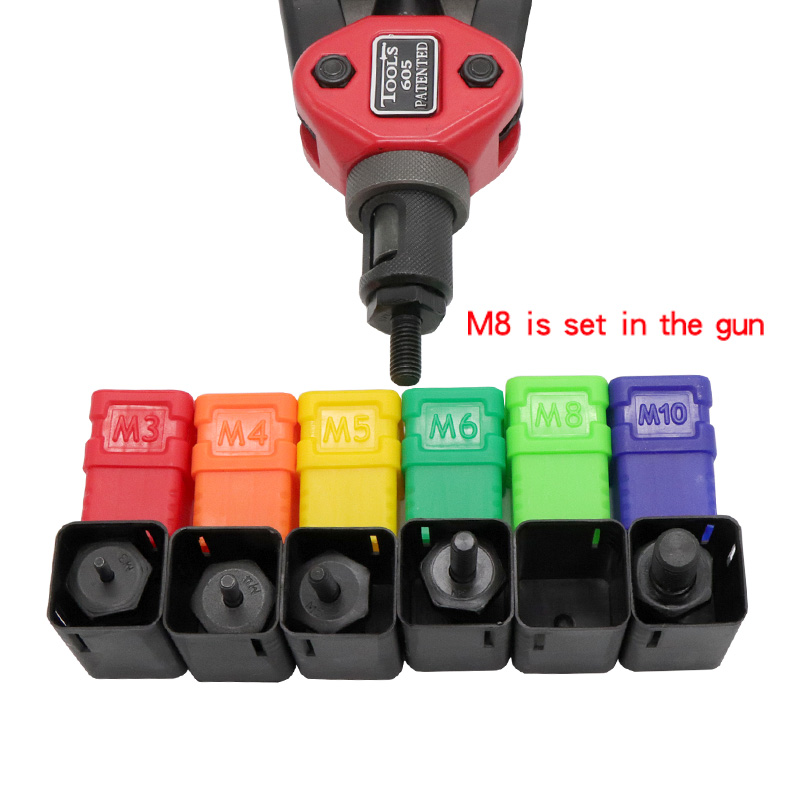 HIFESON 605 Hand Threaded Rivet Nut Gun with 60PCS Iron Nuts Double Insert Manual Riveter for M3/M4/M5/M6/M8/M10