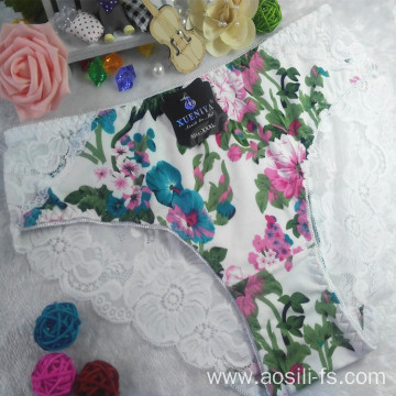 OEM new style wholesale sexy lace women white panty little printed flowers bamboo fiber underwear 6890