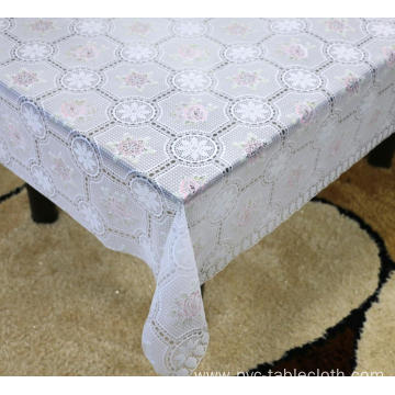 Printed pvc lace tablecloth flannel backed