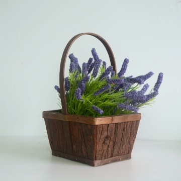 Rectangular wood bark storage hanging basket