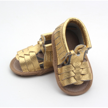 Gold Genuine Leather Moccasins Sandals Baby Shoes
