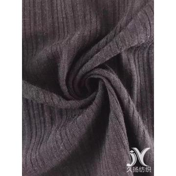 Black Slub Rib Knit Fabric