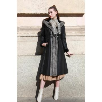 Lady Winter Hooded Mink Fur Coat