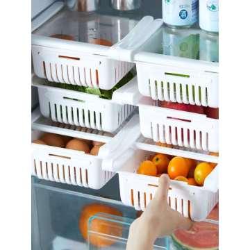Drawer refrigerator storage box save space adjustable drawer hanging fruit and vegetable food box kitchen storage box rack