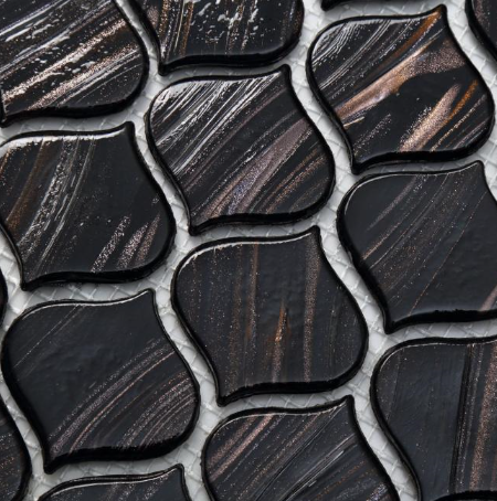 Black Gold Line Arabesuqe Glass Mosaicdetail