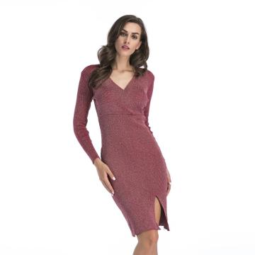 Women's Fashion Sexy Long Sleeve V-neck Knitted Dress