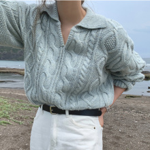 Alien Kitty Retro Women Sweater Pullovers Knitted Casual Solid Autumn Turn-down Collar Feminine Loose All Match Soft Sweet Tops