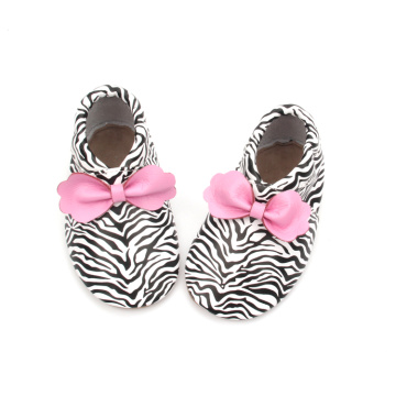 Zebra pattern 3D Bowknot  Moccasins Baby Shoes